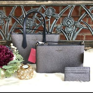🌹Kate Spade Small Joeley Glitter Satchel 3PC Set